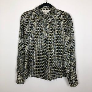 Express large vintage silk geo shape print top